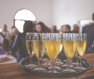 Picture of champagne on a tray