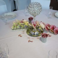 Wedding Table with centre piece and flowers on tables