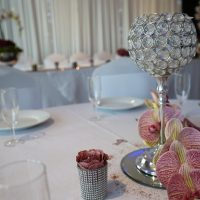 Wedding tables with flowers and decorations